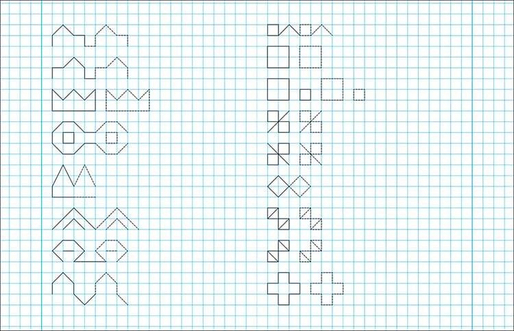 Vackra och enkla ritningar på celler i en anteckningsbok för nybörjare Graficheskie Risunki Po Kletochkam 15