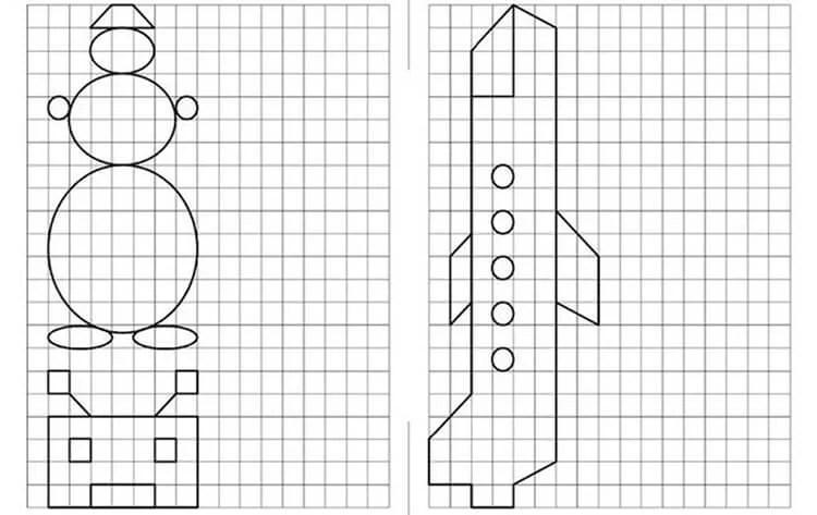Vackra och enkla teckningar på celler i anteckningsböcker för nybörjare Graficheskie Risunki Po Kletochkam 16