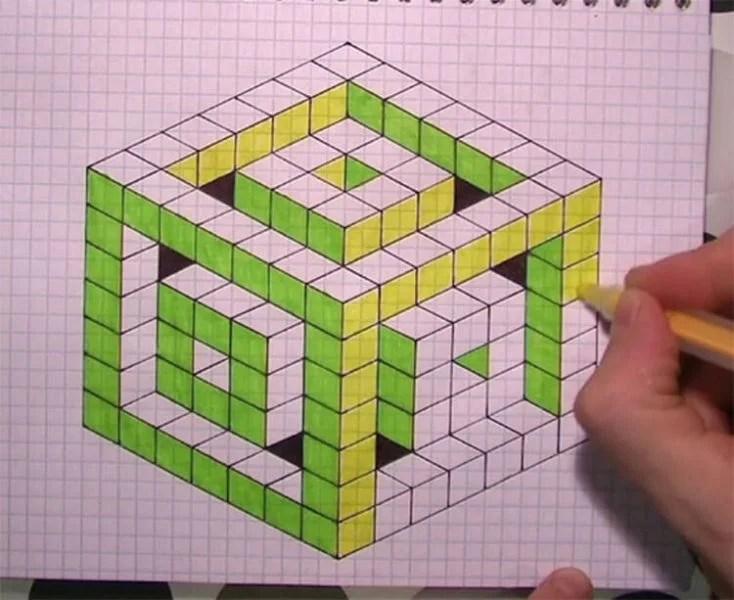 Vackra och enkla ritningar på celler i anteckningsböcker för nybörjare Graficheskie Risunki Po Kletochkam 181