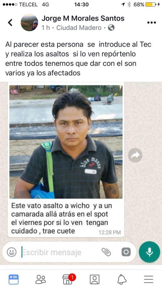 Estudiantes del ITCM difunden en redes sociales foto de asaltante
