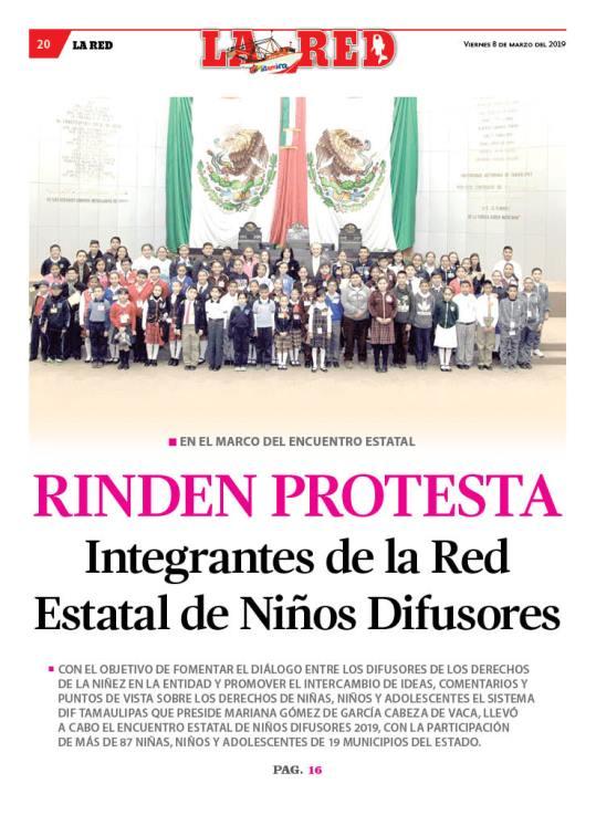 RINDEN PROTESTA Integrantes de la Red Estatal de Niños Difusores
