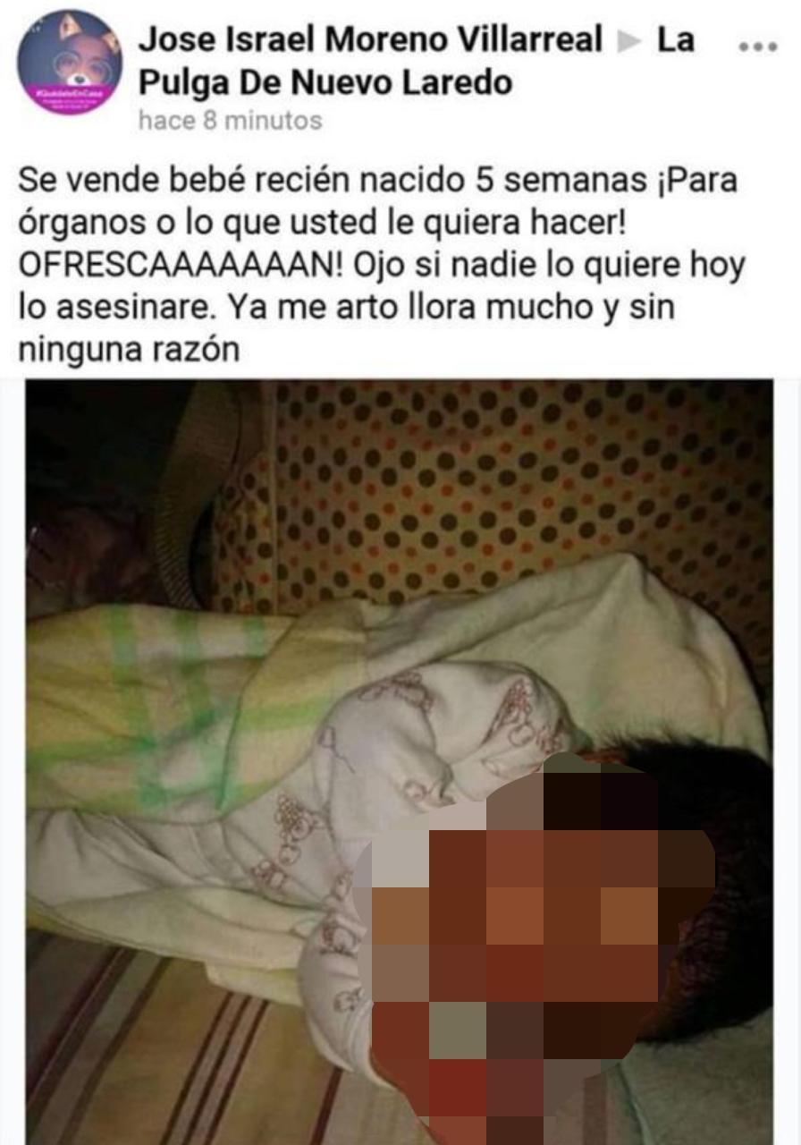 Denuncian en redes sociales a sujeto que ofrecía en venta a bebé