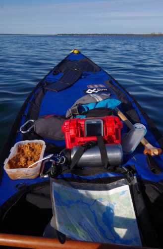 Canoe setup, lunch and all