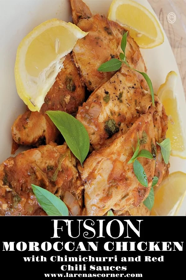 Fusion Moroccan Chicken on a plate with lemon slices and basil