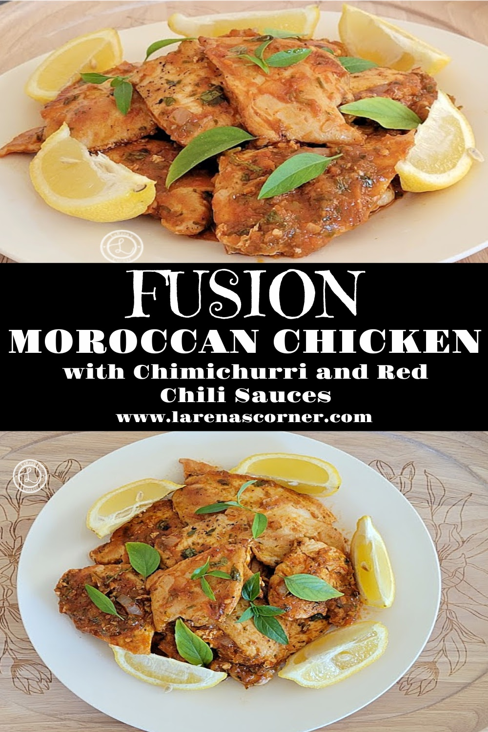 Two pictures of Fusion Moroccan Chicken a side view and a top view picture.