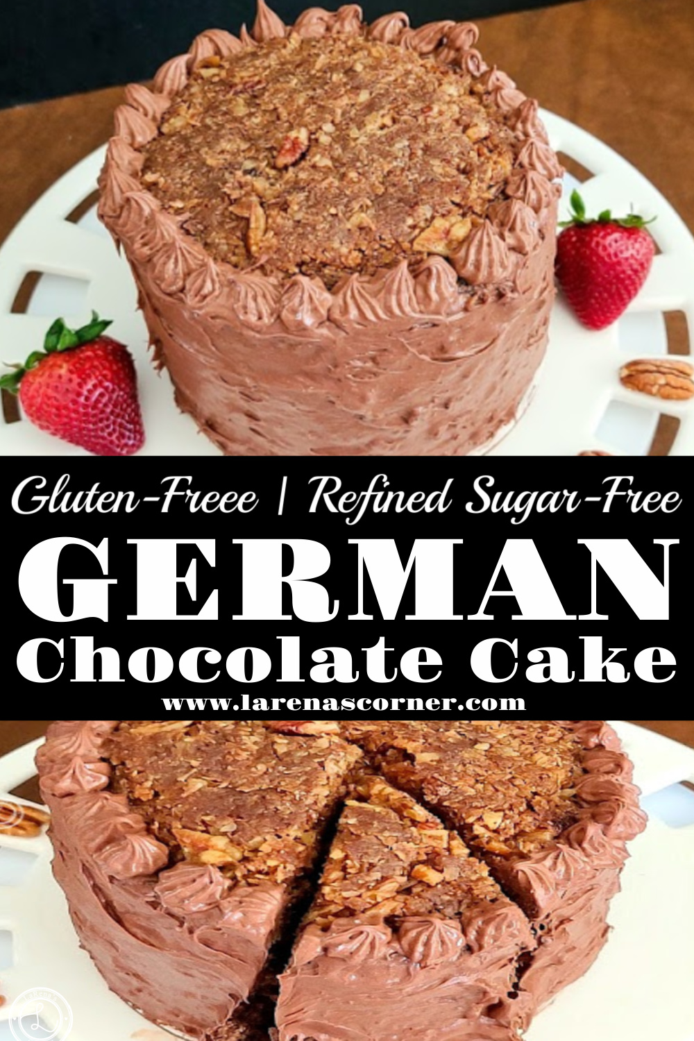 Two picture of German Chocolate Cake. One of the top of the cake. One of a slice ready to be removed