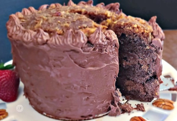 Taking out a piece of German Chocolate Cake