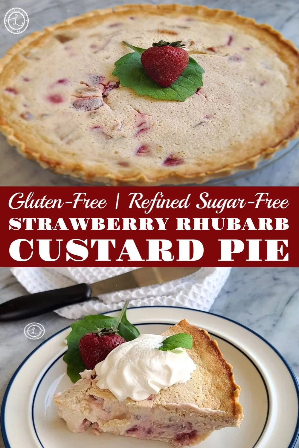 2 pictures of Gluten-Free Strawberry Rhubarb Custard Pie. One picture of the whole pie. One picture of a piece of pie.