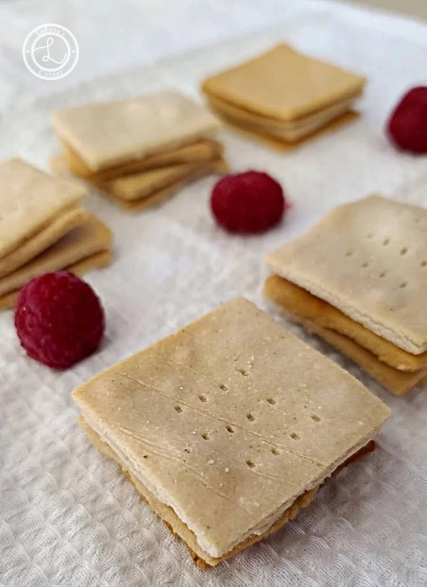 Gluten-Free Garlic Crackers on a white towel