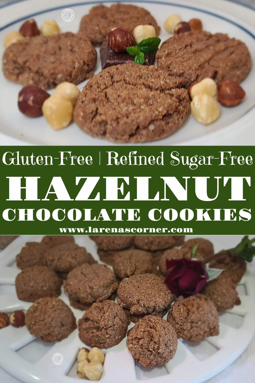 Two pictures of Gluten-Free Chocolate Hazelnut Cookies