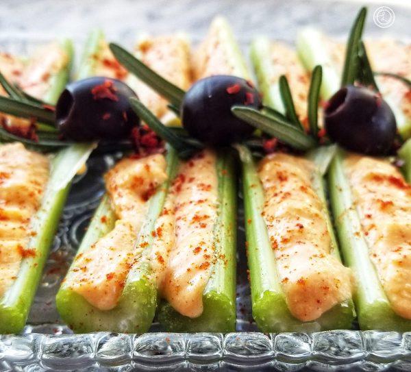 Wine Cheese Spread on celery sticks