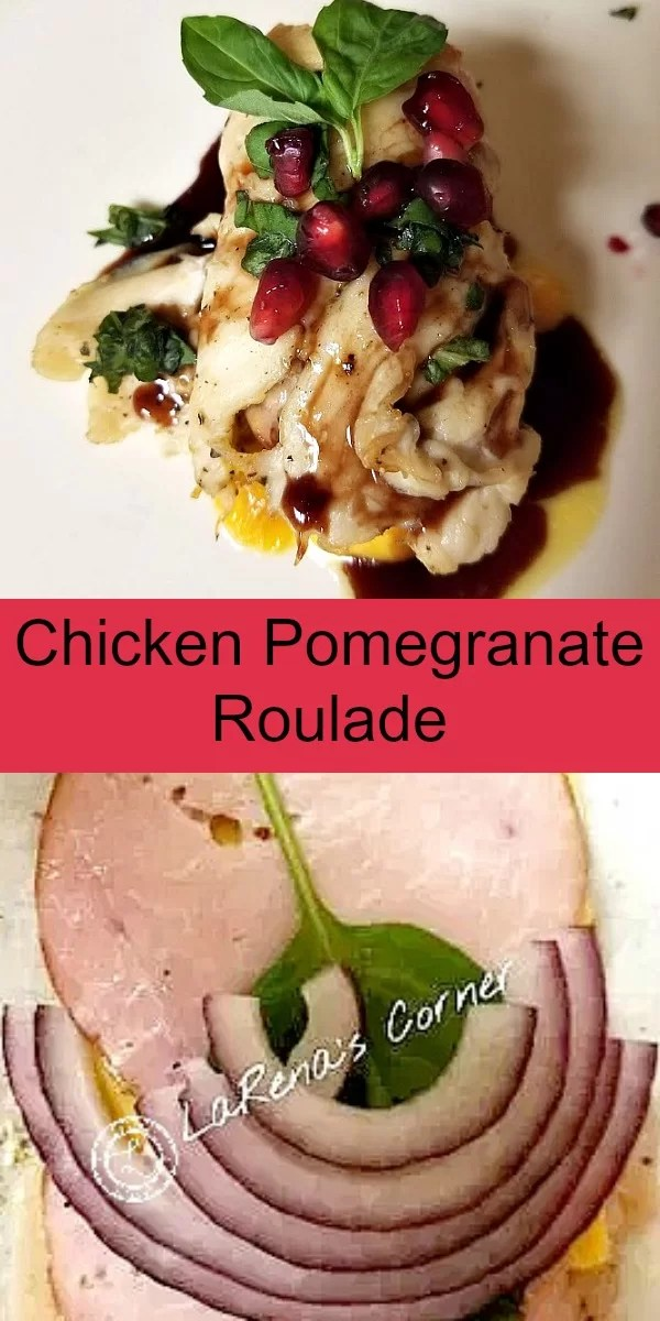 Collage: 1 picture with ham,cheese, basil on raw chicken, 1 photo of cooked and decorated chicken