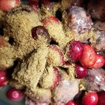 Gluten-Free, Refined Sugar-Free, Grain-Free Cherry Cranberry Cobbler with pomegranates adding a sweet and tart flavor. Perfect for any occasion or holiday
