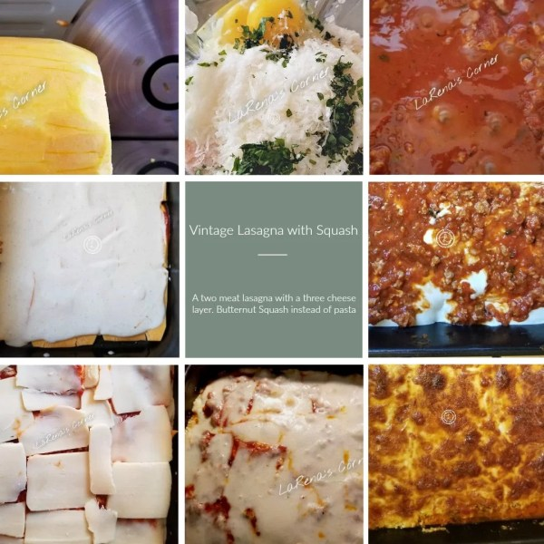Collage of 8 photos of the process of making the Lasagna