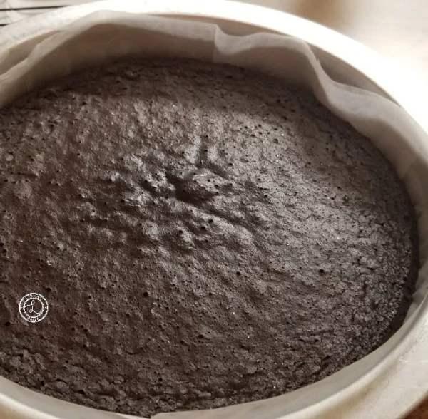 Baked Flourless Chocolate cake in cake pan