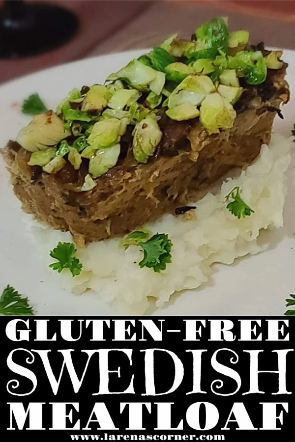 A picture of Swedish American Meatloaf on top of mashed cauliflower