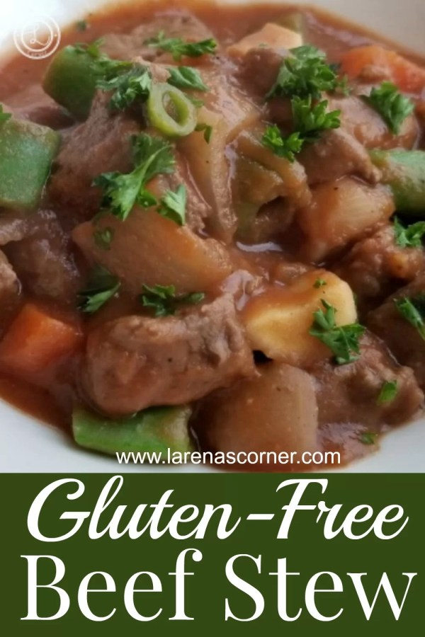 Gluten-Free Beef Stew in a bowl with parsley
