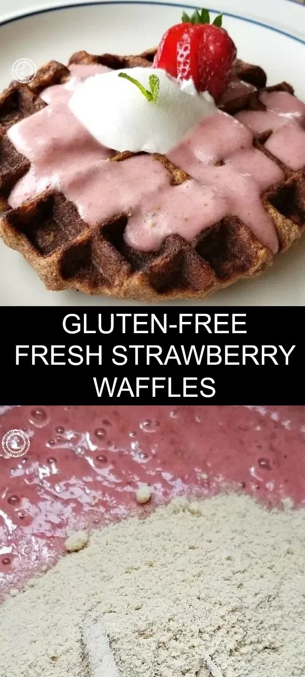 Collage combining strawberries and flour, 1 photo of strawberry waffle with strawberry smoothie sauce