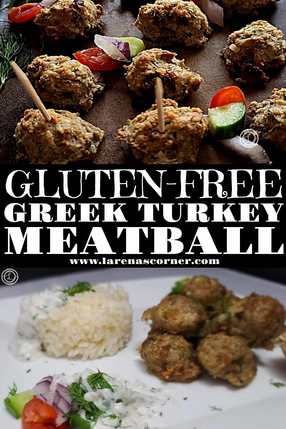 Two different pictures of Gluten-Free Greek Turkey Meatballs. One of a platter of meatballs and one of a plate of meatballs.