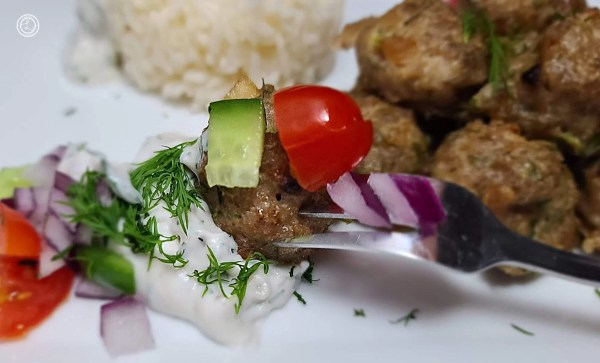 Gluten-Free Greek Turkey Meatball on a fork