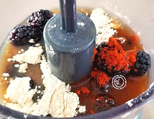 Blackberry Balsamic glaze all ingredients in the food processor