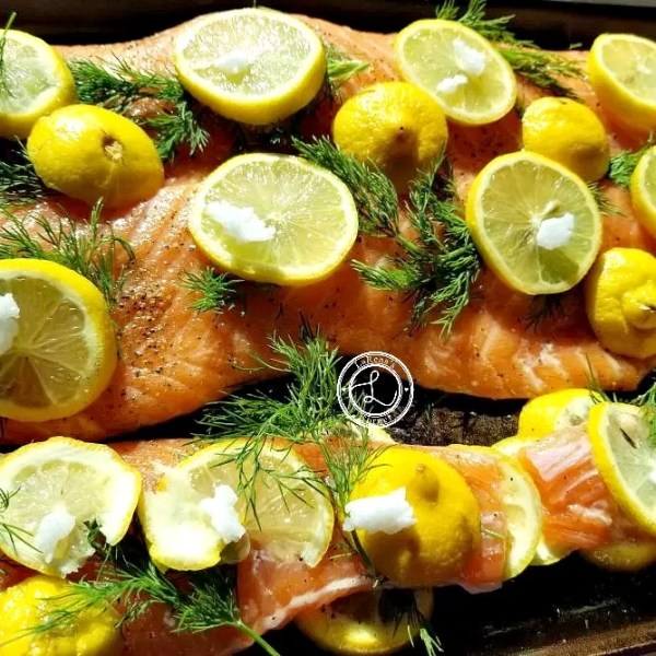 Salmon with dill, lemons salt, pepper, and coconut oil