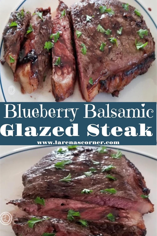 Blueberry Balsamic Steak  sliced on a steak.