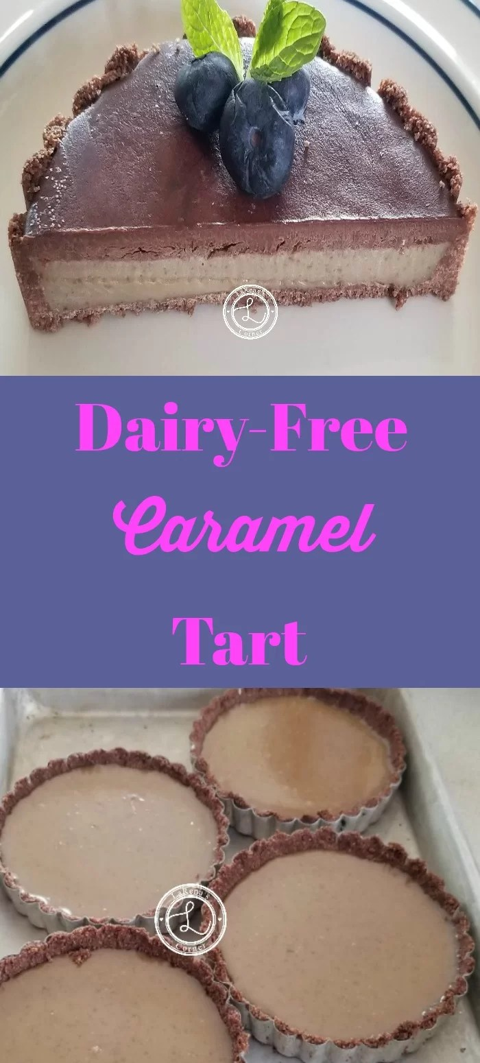 Collage: Top: Dairy-Free Caramel Tart. Bottom: Caramel in tart shell
