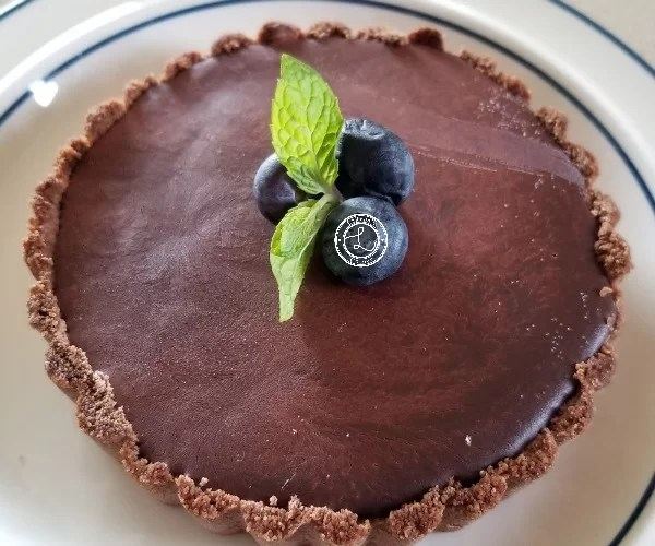 Dairy-Free Caramel Tart is refined sugar-free, grain-free, gluten-free, and vegan dessert. Decadent dessert for 2 or more people. Made with Yacon Syrup.