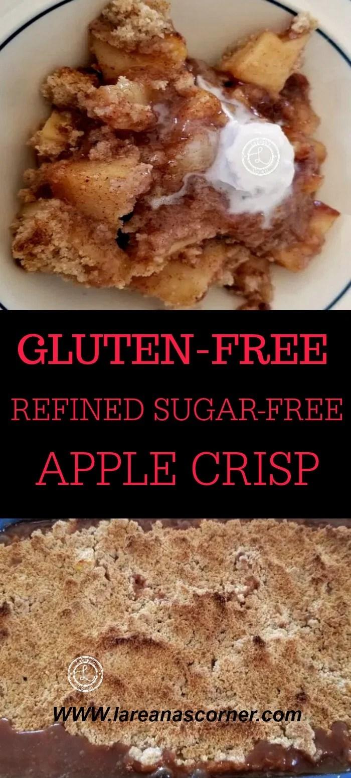 Collage: Top: Bowl of Apple Crisp. Bottom: Baked Apple Crisp