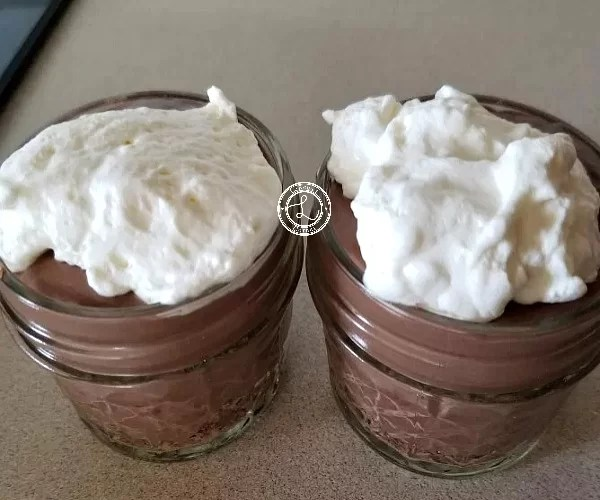 Pudding with coconut whipped cream