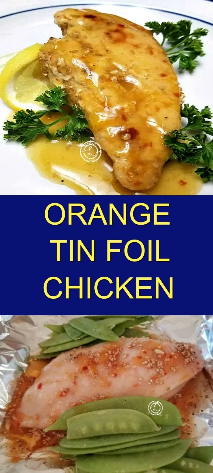 Collage: Top: Cooked chicken with orange sesame sauce. Bottom: Chicken and ingredients on tin foil