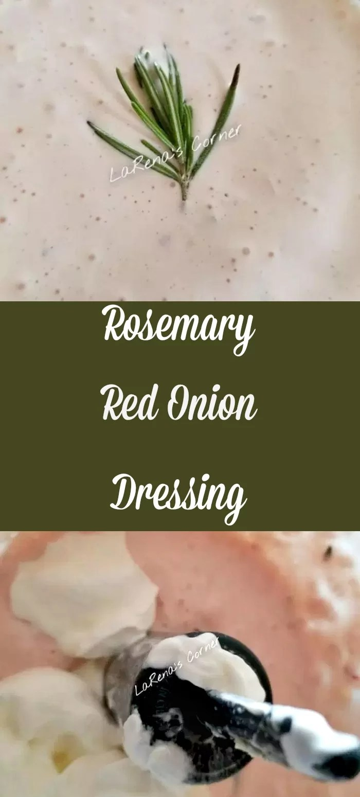 Collage: Top: Rosemary Red Onion Dressing. Bottom: Ingredients in food processor.