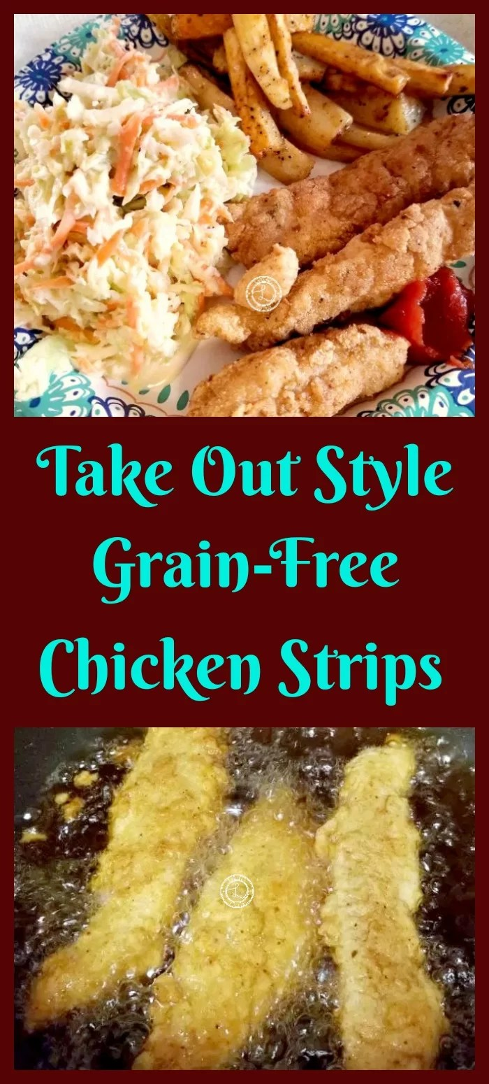 Collage: Top: Coleslaw, grain-free chicken strips and fries.