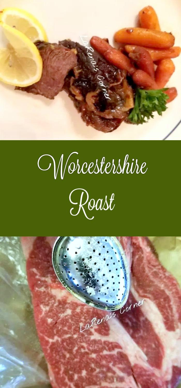 Collage: Top: Roast with roasted carrots. Bottom: Seasoning Roast.