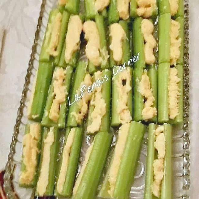 Celery with wine cheese spread