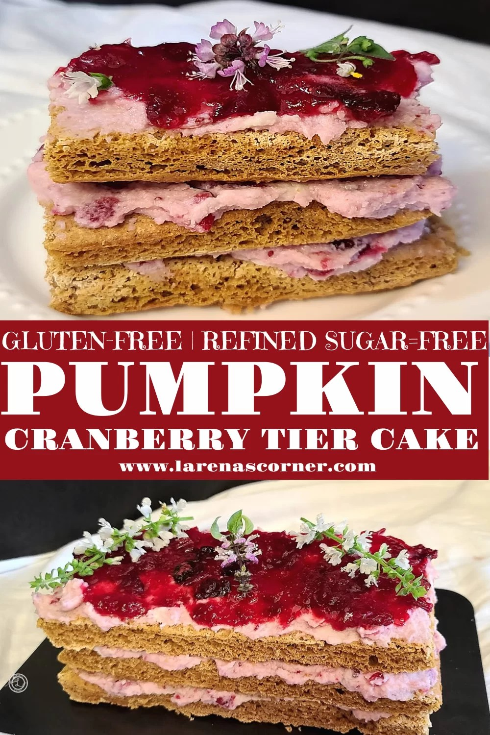 Pumpkin Cranberry Tier Cake. One picture of the whole cake and one of a slice of cake.kin Tier