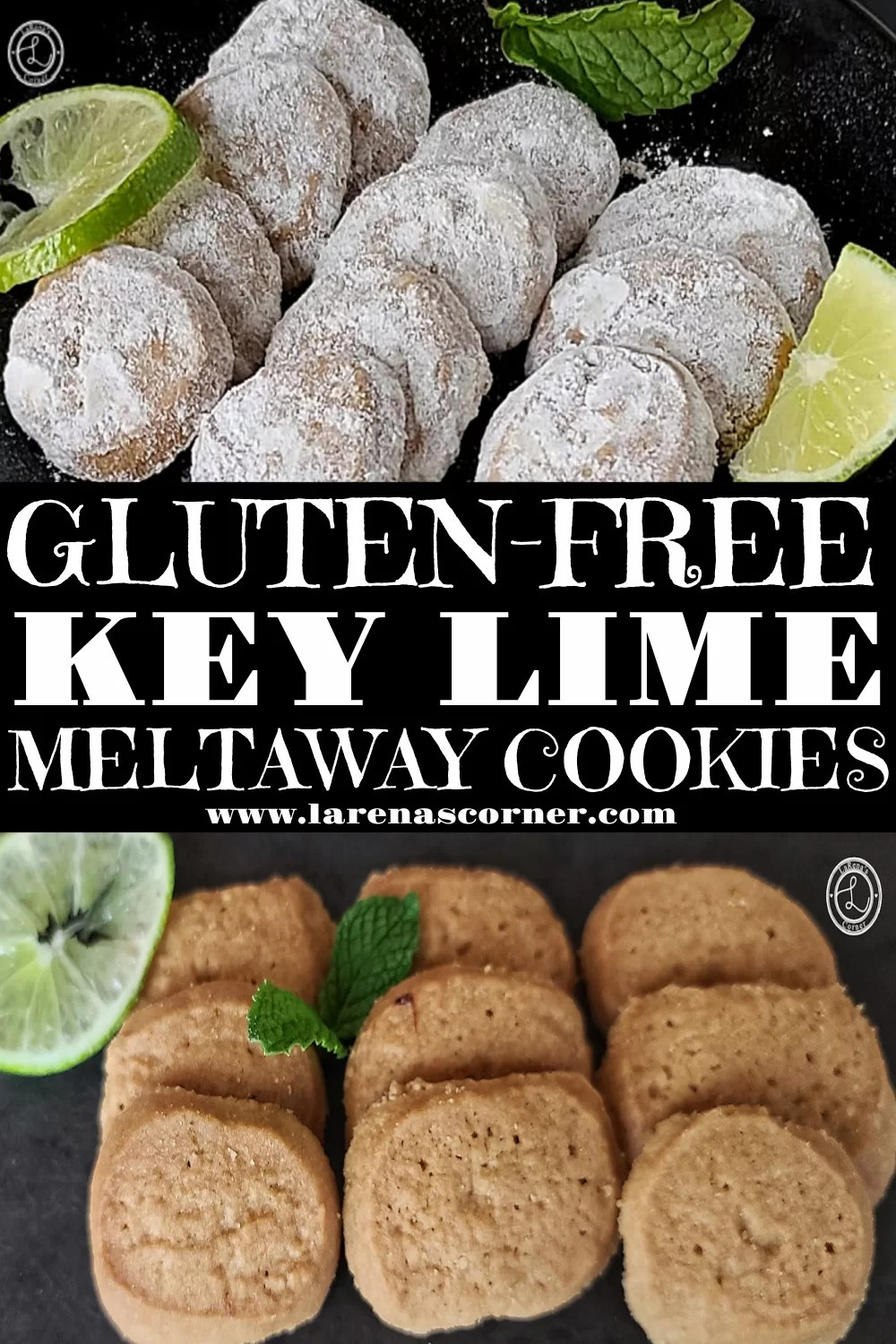 2 pictures of Gluten-Free Key Lime Meltaway Cookies. One dusted with powdered monkfruit sweetener and one without.