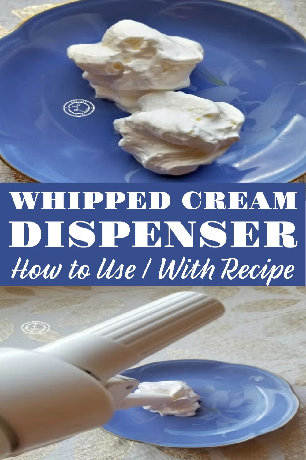 Whipped Cream Dispenser. Two pictures. one of whipped cream and one of the dispenser.