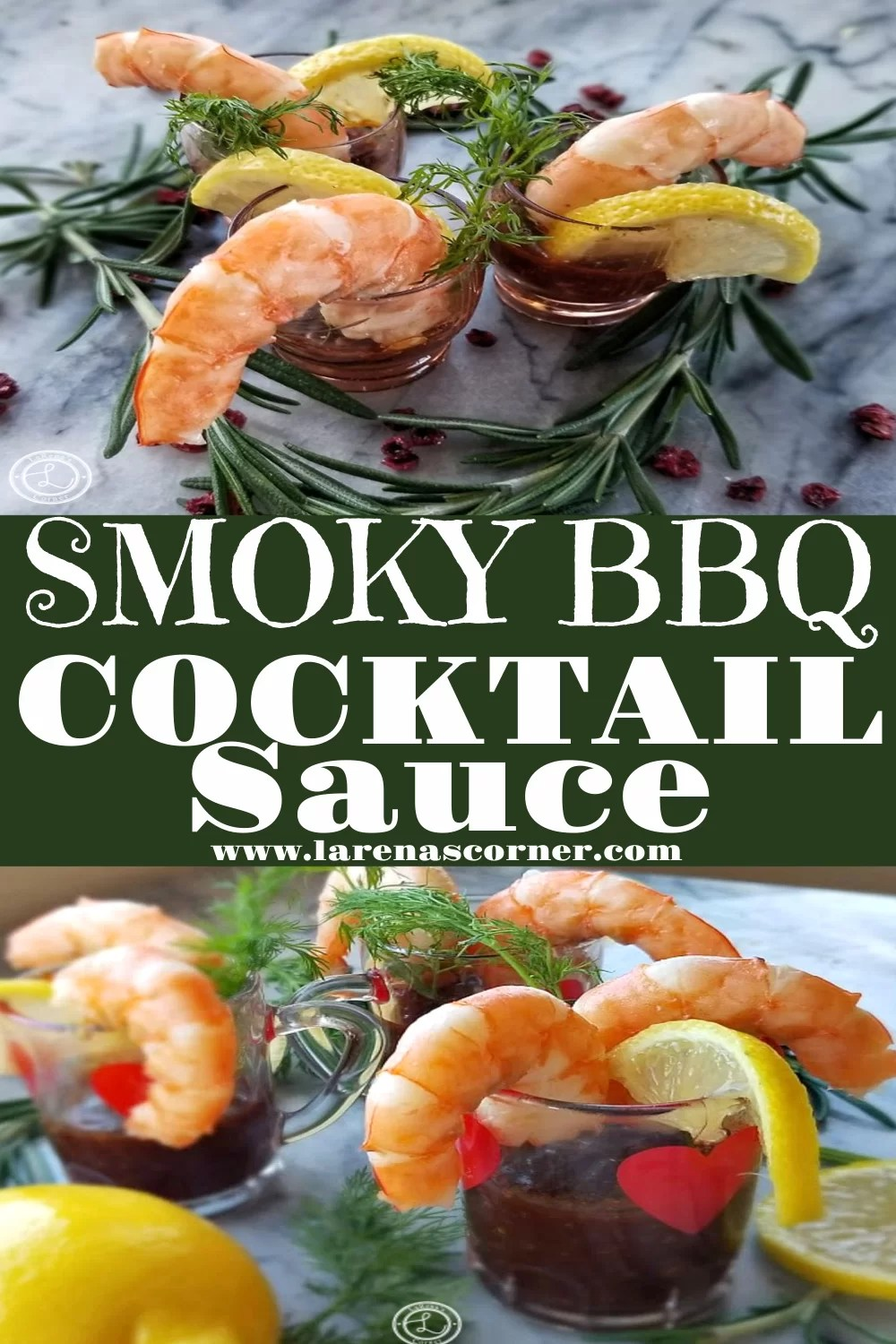 Smoky BBQ Cocktail Sauce and pictures of shrimp with it.