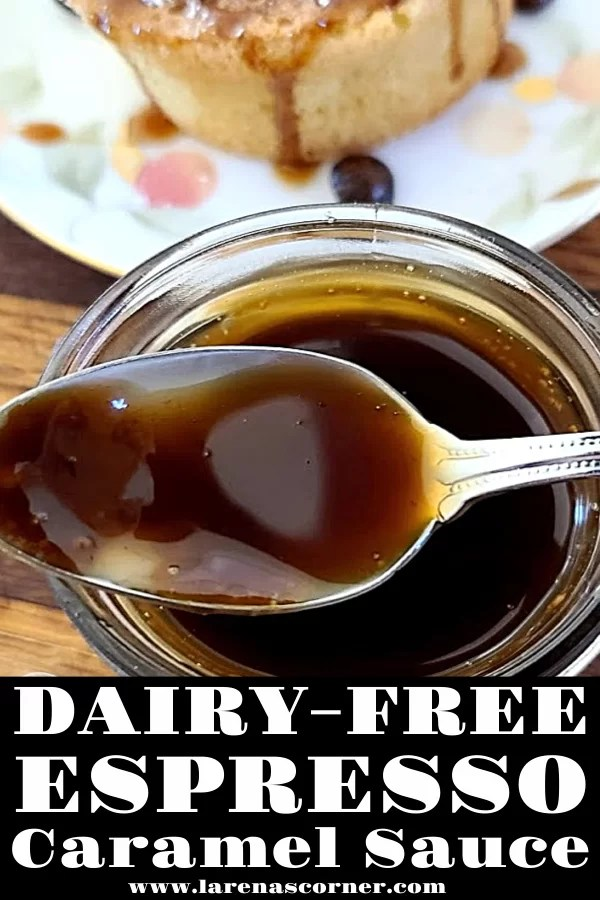 Dairy-Free Espresso Caramel Sauce on a spoon over a jar with some on a Japanese Pancake in the background.