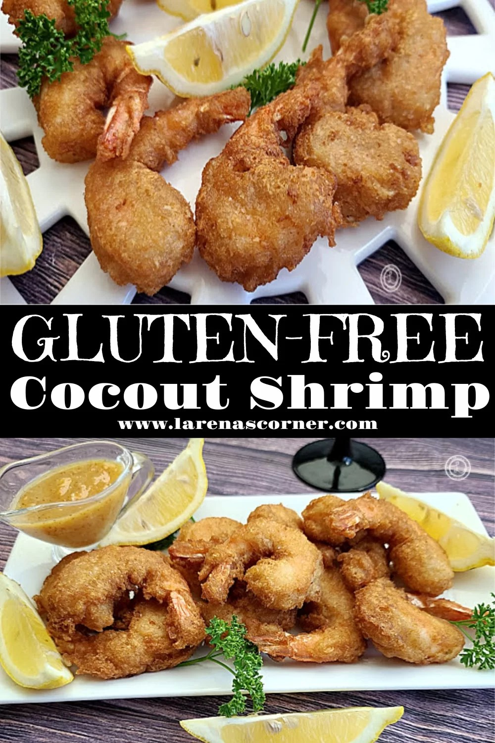 2 pictures of cooked Gluten-Free Coconut Shrimp