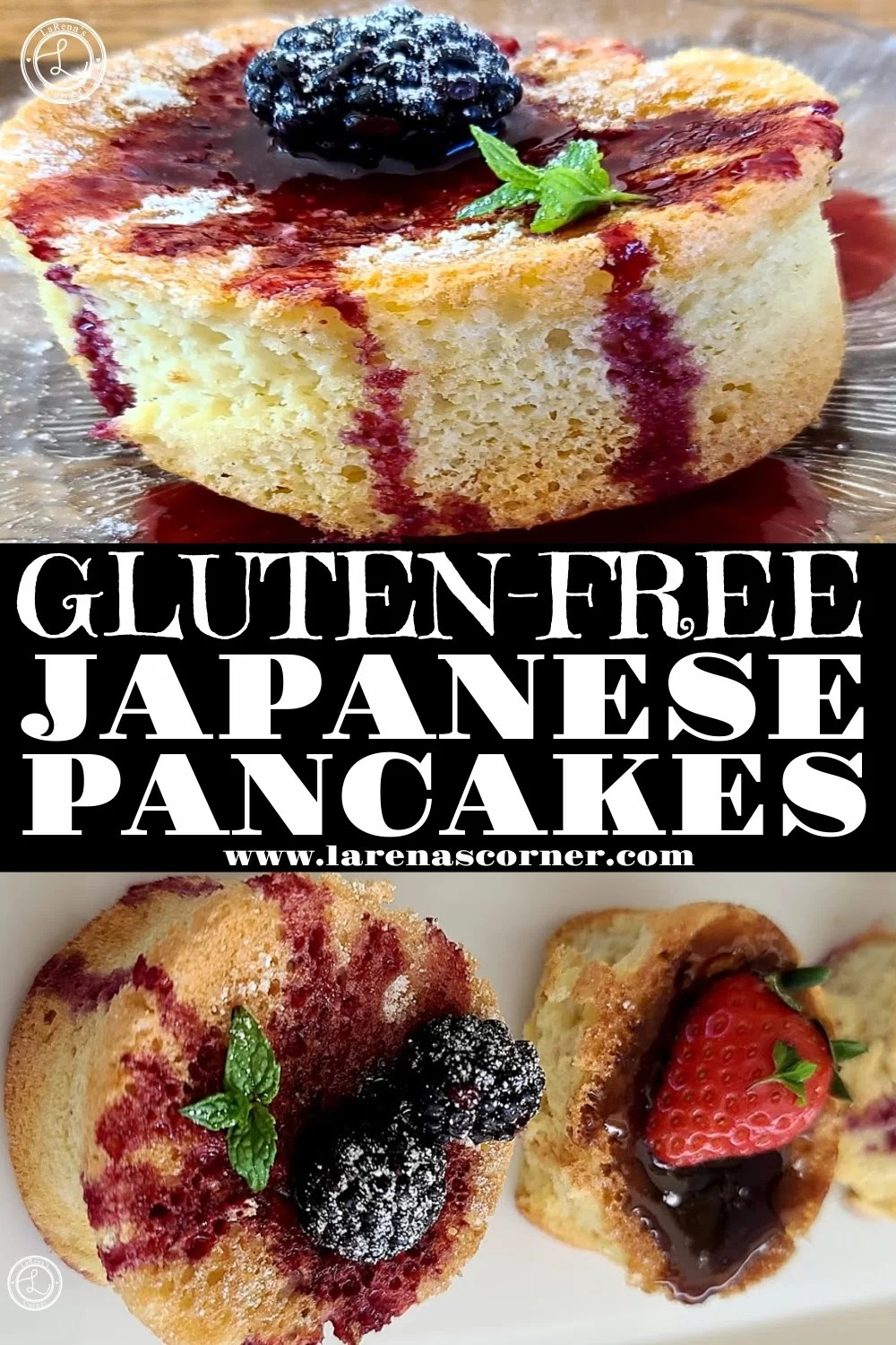 Two Pictures Gluten-Free Japanese Pancakes. One close-up and one further away with two pancakes on a plate.