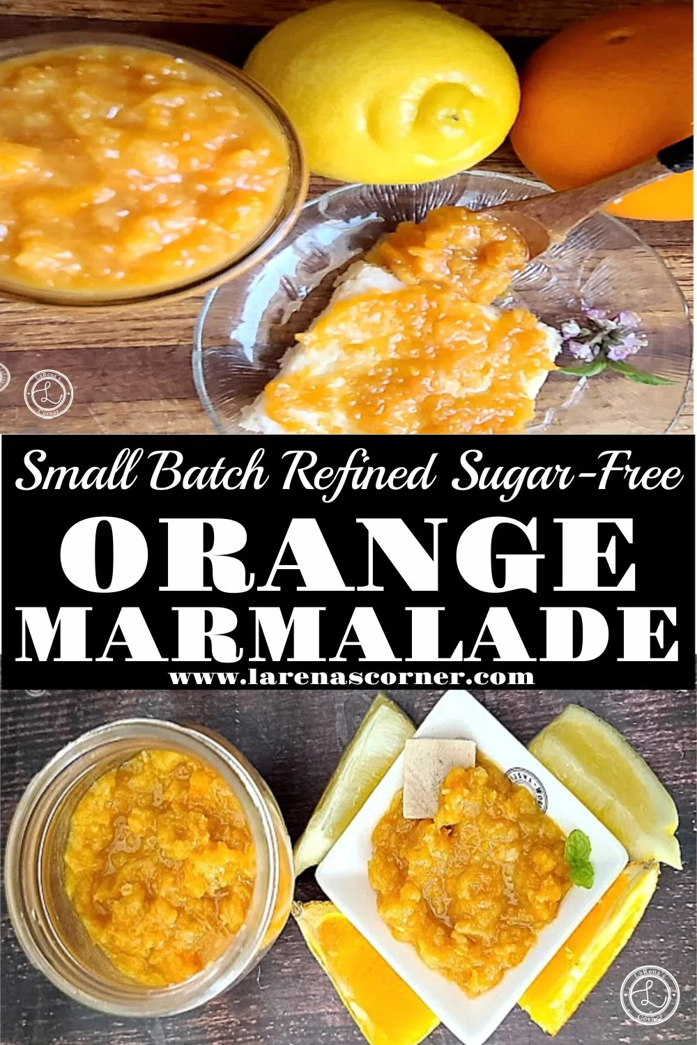 Two Pictures of orange marmalade. One with a jar and a small bowl of marmalade surrounded by orange and lemon slices. One picture of a piece of toast with marmalade and an orange, lemon and jar of marmalade.