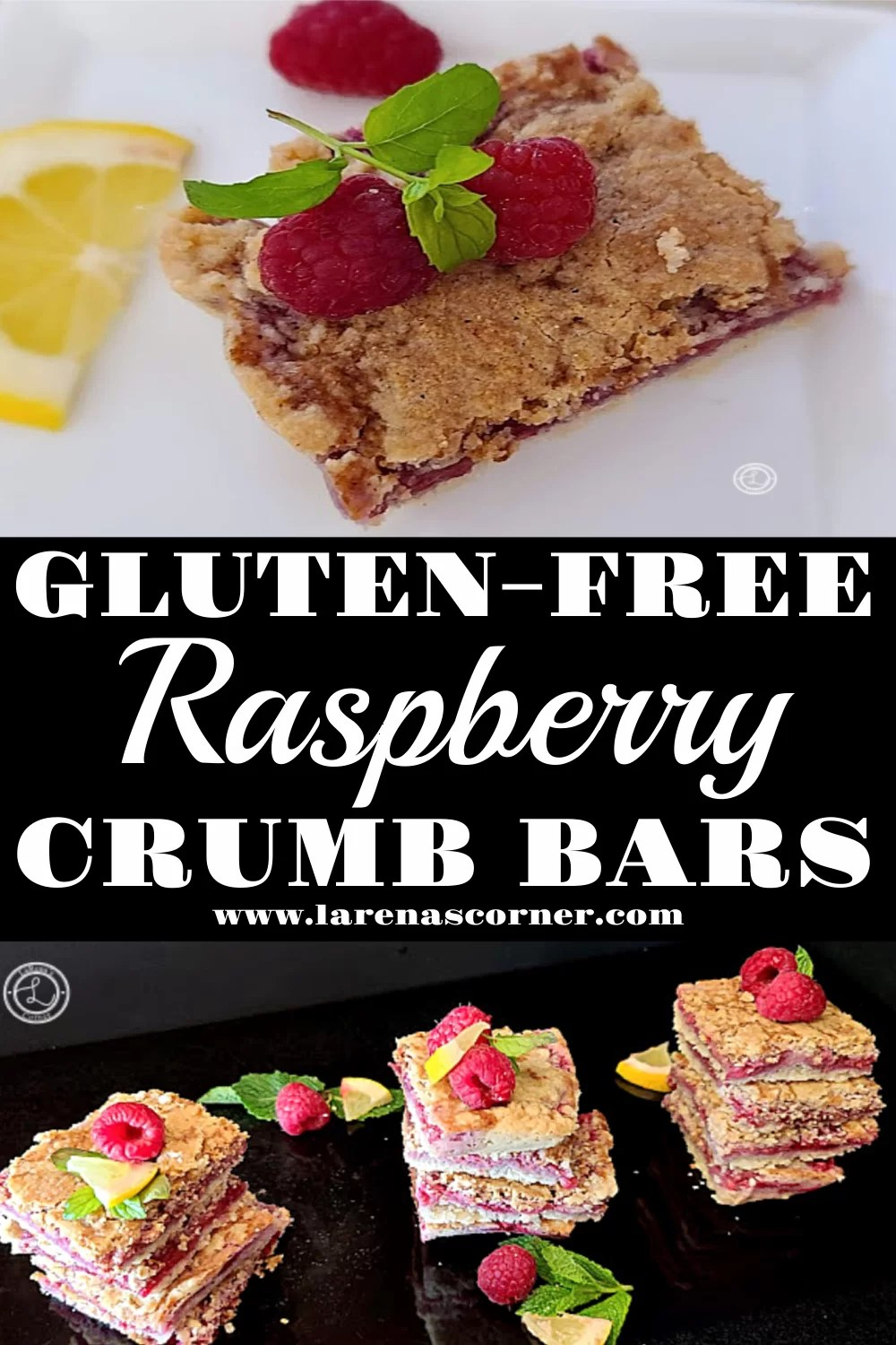 Two gorgeous pictures of this summer delight. One close-up of one bar. The second picture of three stacks of Gluten-Free Raspberry Crumb Bars.
