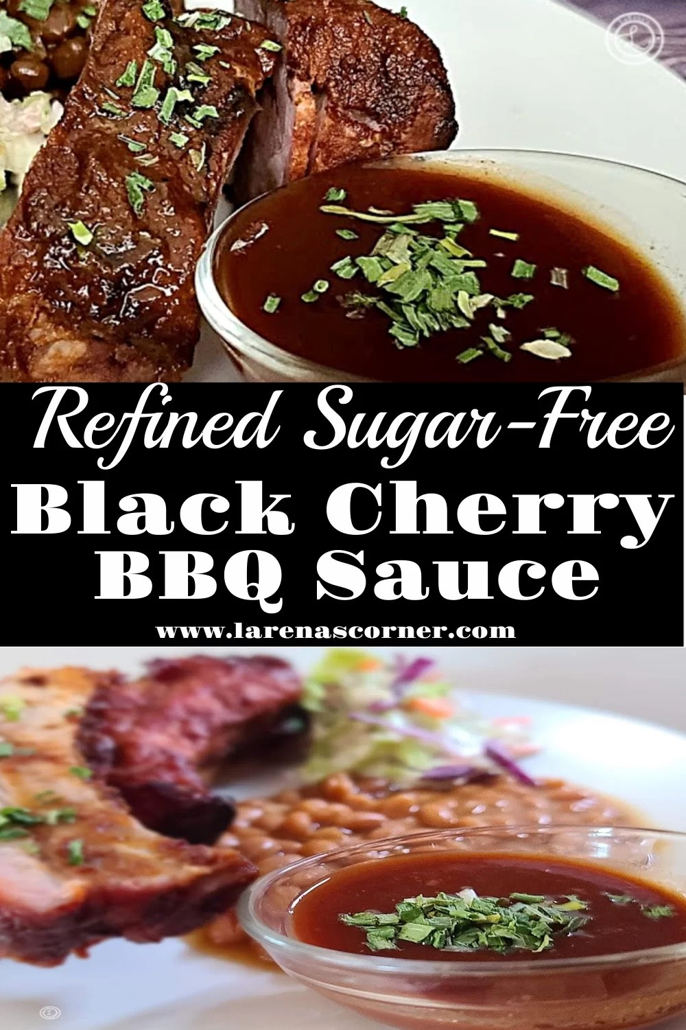 Two pictures with Black Cherry BBQ Sauce.