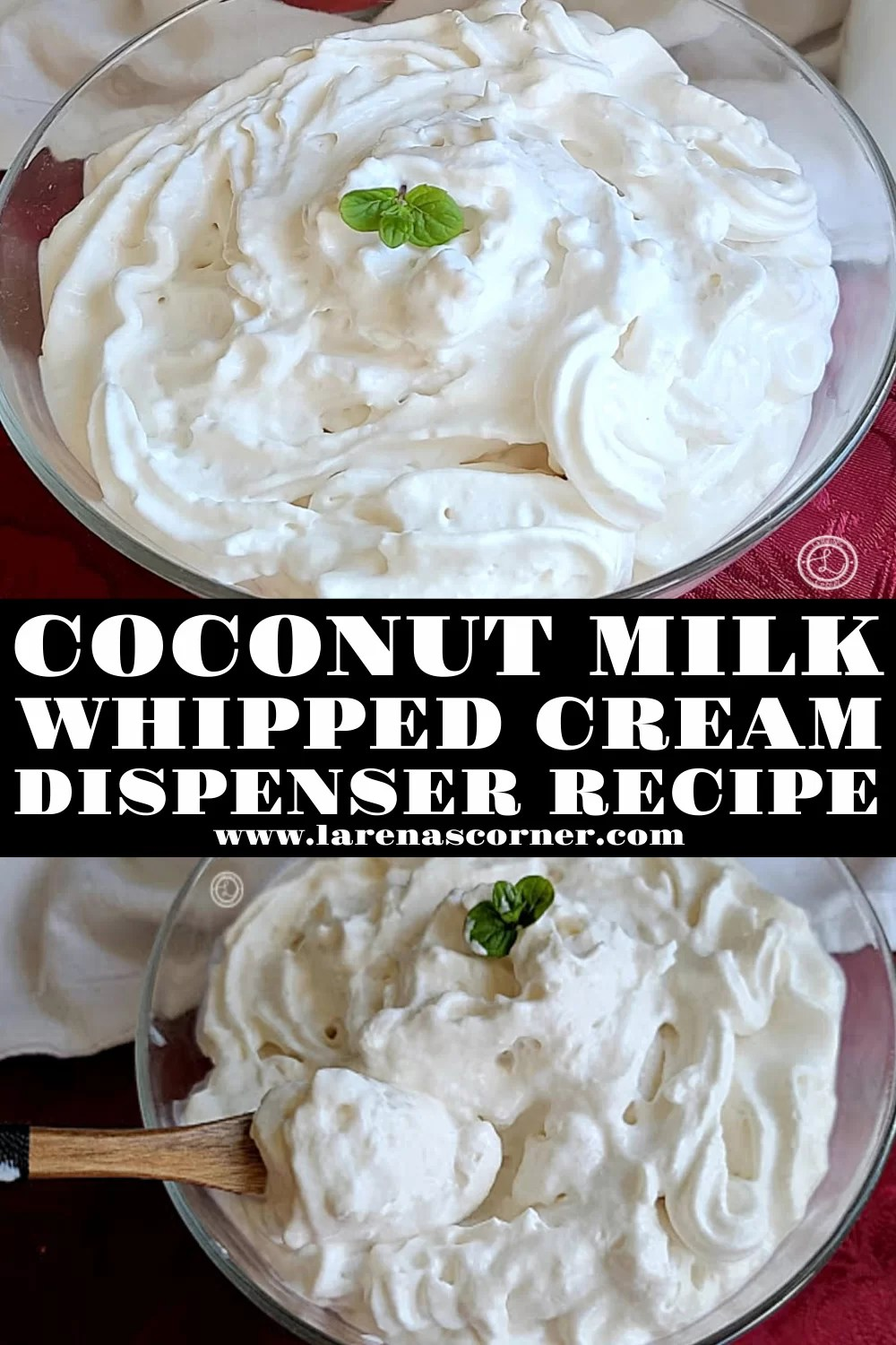 Coconut Milk Whipped Cream that was sprayed out of a whip cream dispenser and into a bowl. Two pictures.