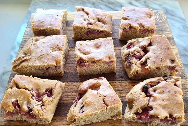 Cut the Strawberry-Rhubarb Gluten-Free Oven-Pancakes into bars