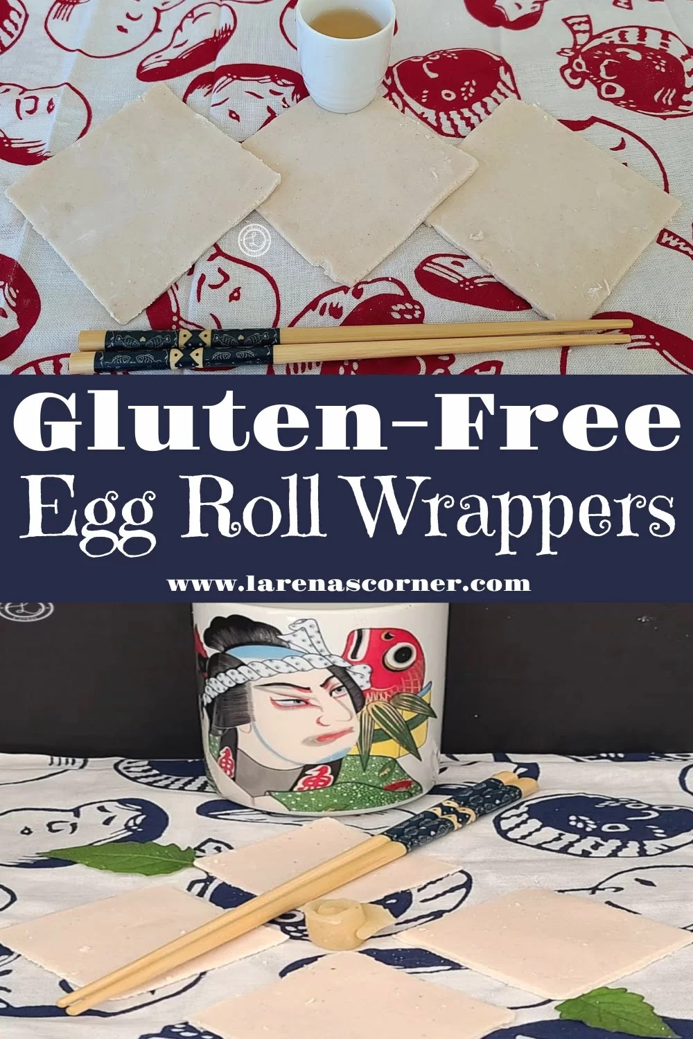 Gluten-Free Egg Roll Wrappers. Two different pictures of Egg Roll Wrappers
