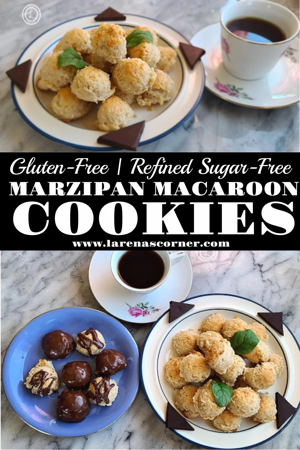 Two Pictures of Dairy-Free Marzipan Macaroon Cookies. One Picture of chocolate dipped cookies and plain cookies on a plate. One picture of just plain cookies.